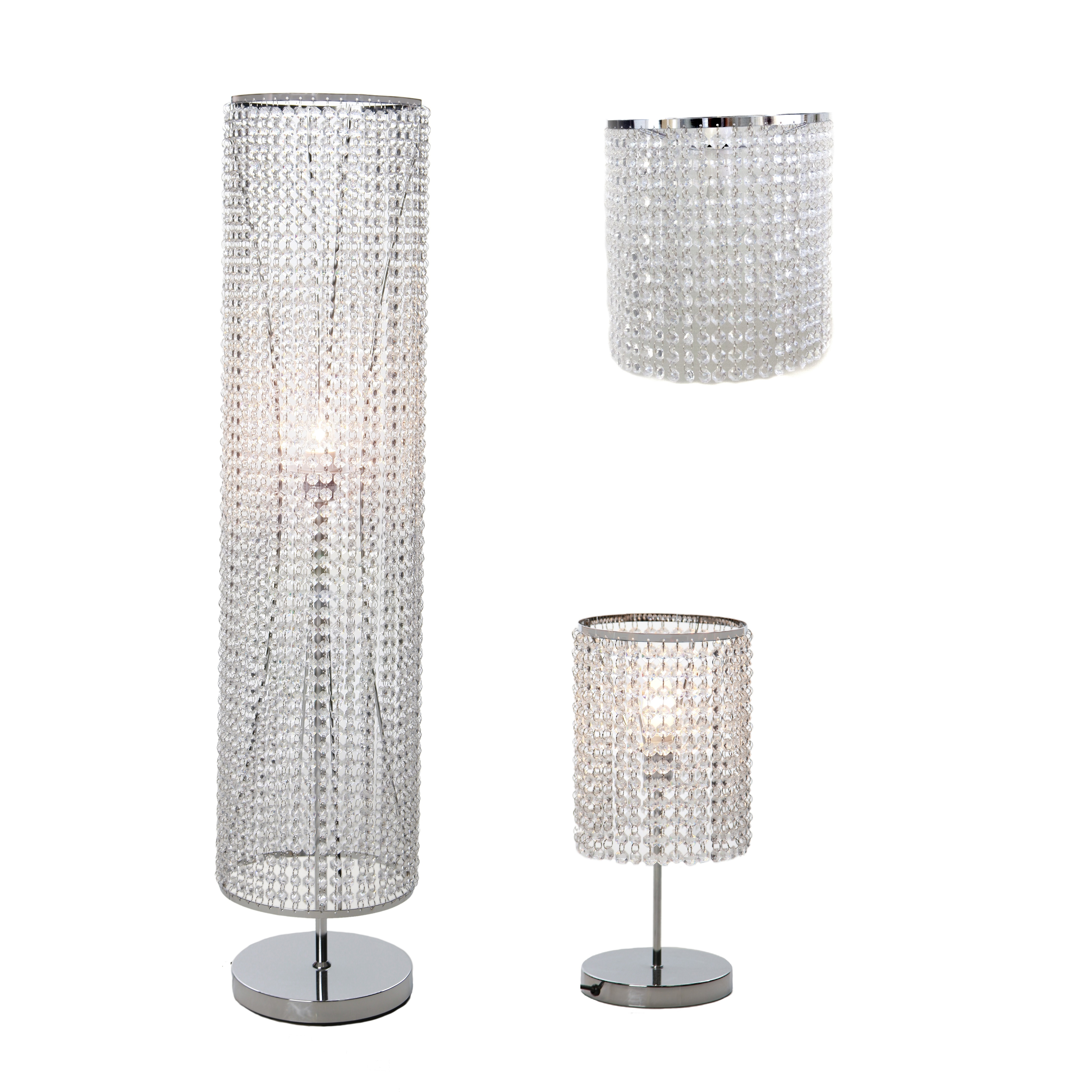 Table Lamp Floor Light Or Ceiling Shade Chrome Crystal